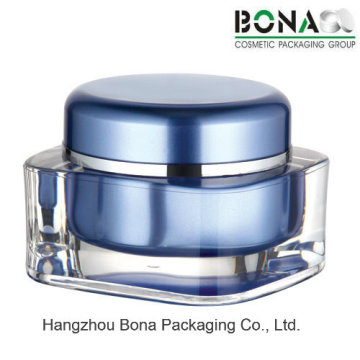 15g 30g 50g Blue Square Acrylic Jar with Round Cap for Cream