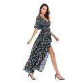 Tiefem V-Ausschnitt Kurzarm Chiffon Flower Beach Dress