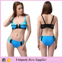 2016 Hotsale Zip Decor Sexy Mix Cor Tankinis Swimsuit com Double Shoulder Belts