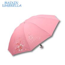 Beaucoup Couleur Rose Bleu Rouge Gree Gros Marché Grande Taille Belle Impression Ruban Revêtement UV Protection Femmes Parapluie à vendre