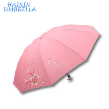 Many Color Pink Blue Red Gree Wholesale Market Large Size Nice Printing Sliver Coating UV Protection Women Sun Umbrella for Sale