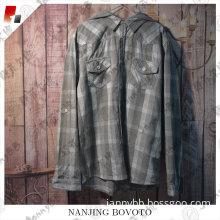 Boy fashion handsome hooded plaid shirt