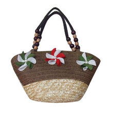 Beach Bag, Made of Wheat-straw, Paper Straw, Wooden Bead and Wax Line, Small orders are Welcome