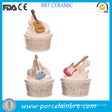 Creative Decoration Music Ceramic Money Box with Guitar