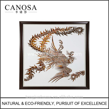 CANOSA Golden paua shell hand engarving phoenix Wall Picture