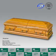 LUXES OAK Wooden Casket Coffin WOODMAN With Gold Color