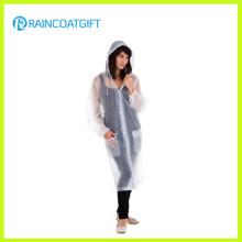 Impermeable de PVC transparente unisex de longitud completa Rvc-160