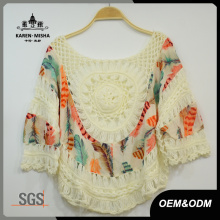 Women Fashion Loose Crochet Patterned Chiffon T-Shirt