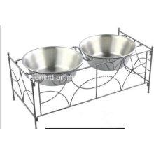 Eisen-Kunst-Doppelt-Haustier-Fütterungs-Schüssel