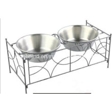 Iron Art Double Pet Feeding Bowl