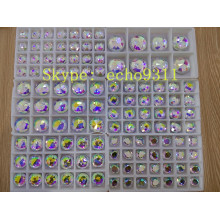 Ab Round Glass Stone with Holes Flat Back Stones