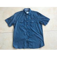 Denim Fabric Man Short Sleeve Shirt