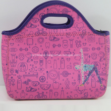 Sports girls printing Eco-friendly neoprene lunch bag tote