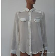 2015 New Fashion Long Sleeves Casual Women Blouse pour femmes Vêtements