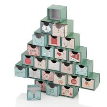 Boîte de cadeau de calendrier de tiroirs en forme de sapin de Noël