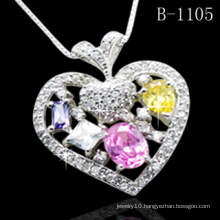 925 Silver Jewelry Micro Pave Pendant Colorful CZ (B-1105)