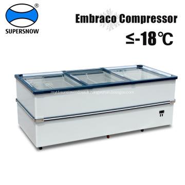 Réfrigérateur congélateur à porte coulissante horizontale