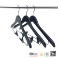 Hh Black Adjustable Clips Wooden Suit Clothes Hangers