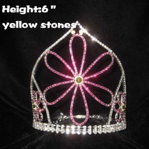 Crystal Flower Shaped Pageant Princess Crowns
