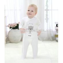 Coton biologique personnalisé bébé barboteuse à manches longues à capuchon infantile bambin bébé hiver barboteuse