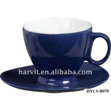 Divers Pure Color Glazed Round Elegant Stoneware Coffee / Tea Cup & Saucer