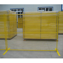 PVC Coated Temporary Fence with 75X100mm Mesh Hole and Yellow Color for Canada