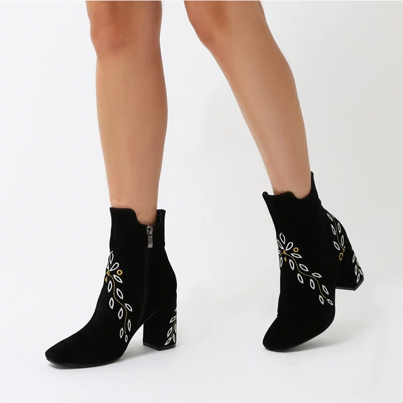 chunky middle heel women ankle boots