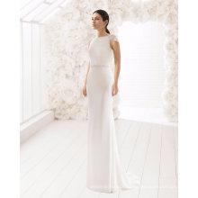 Abra o vestido de noiva de volta sereia manga cap