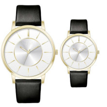 Yxl-336 Simple Design Watch Leather Strap Couple Watches Gold Plated Water Resistant for Mens Women