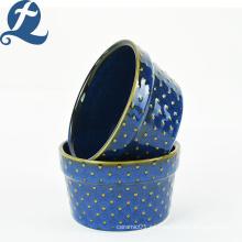 Juego de vajilla de cerámica azul, calcomanía delicada, taza redonda para pastel