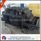 Electromagnetic overbelt separator for removal of iron particle