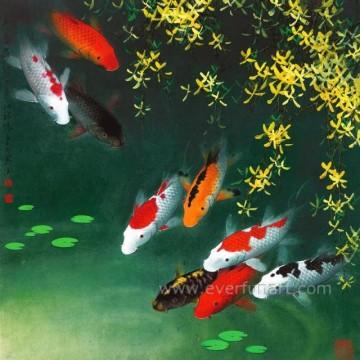 Atacado pintura de peixes de Koi na lona para Home Decor (EAN-230)