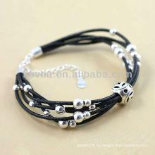 Черные кожаные браслеты цепи 925 серебряных ювелирных изделий браслеты