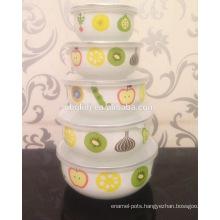 5 pc fruit bowl set & custom enamel coating ice bowl