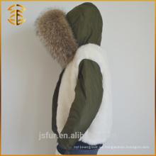 2017 Nuevo abrigo de invierno del Fox de la capa del verde del ejército de las mujeres con la piel