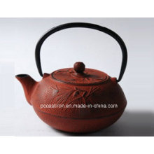 0.6L Gusseisen Teekanne in roter Farbe