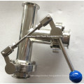 Stainless Steel Tee Style Thread/Clamp/Weld Butterfly Valve with One Pulling Handle