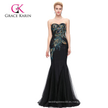 Grace Karin de longitud completa sin tirantes amor negro sirena pavo real vestido de baile de fin de curso GK000080-1