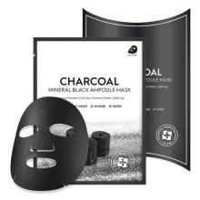 OEM Custom Charcoal Mineral Black Ampoule Tightening Korean Face Sheet Mask Skin Care