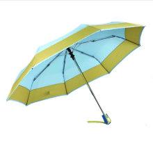 Borde y bordes plegados sólidos Paraguas abiertos y cerrados (YS-3FD22083967R)