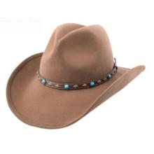 Brown Cowboy Style Fashion Felt Hat with Big Brim (CW0006/08)