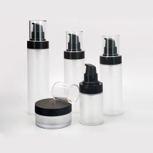 frosted clear PP plastic cosmetic bottle set packaging