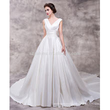 2017 newest style shine satin V-neck wedding dress with real pictures