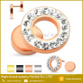 Wholesale Rose Gold Titanium Plated Stainless Steel Crystal Paved Fake Plug Earrings