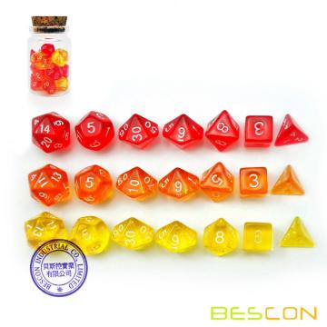 Bescon Mini Dice Gem Set 21pcs -21 Gem Mini Polyhedral Dice, 3 colors in Complete Set of 7, Miniature 10MM Dice Size