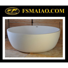 Big Space White Freestanding Circular Bathtub Solid Surface (BS-8615)