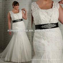 Tulle lace strapless black sash mermaid wedding dress