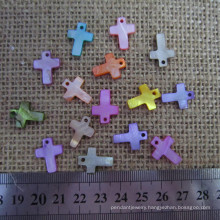 Small Colorful Mother of Pearl Cross, Shell Cross Charms