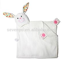Serviette à capuchon lapin blanc, 100% coton, super doux, lavable en machine, meilleur cadeau de douche pour les bébés
