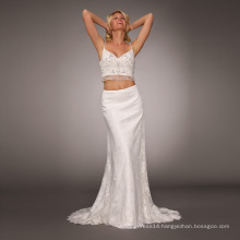 Illusion lace split crepe bohemian mermaid sexy wedding dress